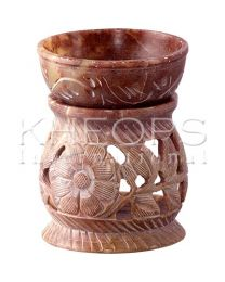 Soapstone Tealight Candle Warmer - Carved Flowers