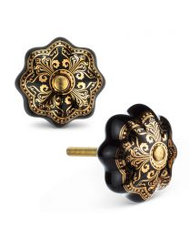 "Blk/Gold Ornate Knob-1.5""D"