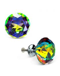 LARGE FLAT CUT CRYSTAL KNOB - PRIZM