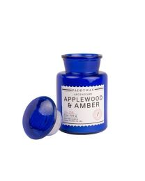 BLUE APOTHECARY 8 OZ APPLEWOOD & AMBER GLASS CANDLE