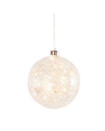 """Hanging Orb Clear Glass 6"""" Diameter LED Decor Ball"""
