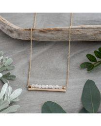 Horizon Necklace - Gold/Rose Quartz