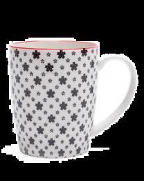 Kiri Porcelain Mug - White with Black Daisies