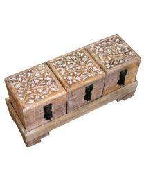 MANGOWOOD BOXES ON TRAY S/3 - WHITE IVY