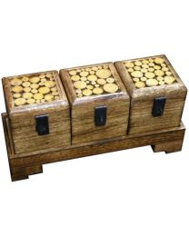 MANGOWOOD BOXES ON TRAY S/3 - WOOD CHIPS