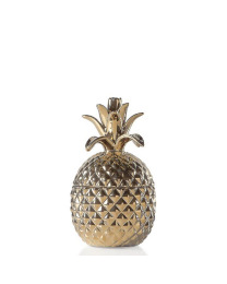 Pineapple Gold Crown Gold Ceramic Canister - Short