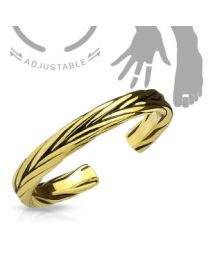 Adjustable Toe Ring/Mid Ring Double Braided - Gold