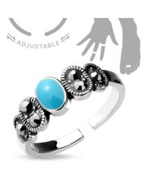 Adjustable Toe Ring/Mid Ring Turquoise Center