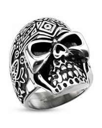 Decorated Sugar Skull Wide Cast Ring