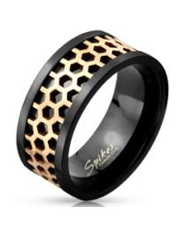 Two Tone Honey Comb Black IP 316L Ring