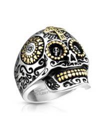 Gold Cross Skull S.S Casting Rings