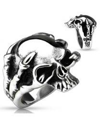 Dragon Claw Skull Cast Ring 316L