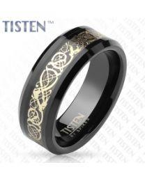 Gold Filigree Inlay Black Tisten Rings