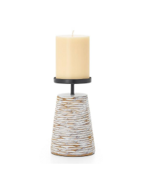 """Ripple Carved Groove 6""""h Resin Candle Holder - White??"""