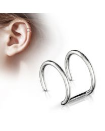 Double Closure Ring 316L Fake 'Clip-On' - Silver