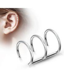 Triple Closure Ring 316L Fake 'Clip-On' - Silver