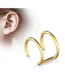 Double Closure Ring 316L Fake 'Clip-On' - Gold