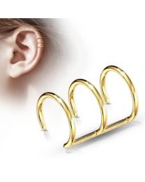 Triple Closure Ring 316L Fake 'Clip-On' - Gold