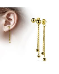 Pair of Double Chained Balls w/ S.S Ball Studs - Gold