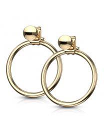 Pair of Circle Hoop Back 316L Earrings - Gold