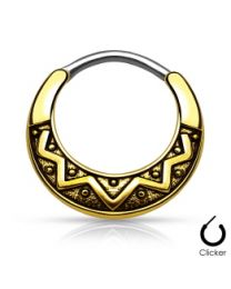 Tribal Fan Round 316L Septum Clicker - Antique Gold