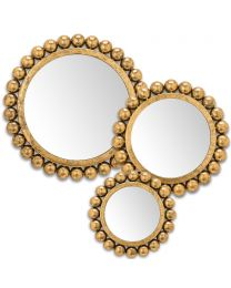 Set of 3 Ball Edge Wall Art Mirrors in 3 sizes