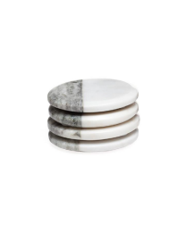 Two Tone Marble Coasters Round - Set of Four