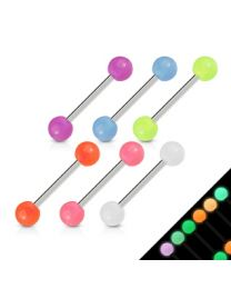6 Pcs 316L Barbells with Glow In The Dark Balls
