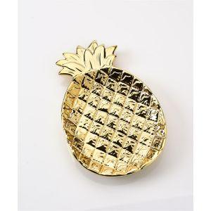Ceramic Gold Pineapple Trinket Plate