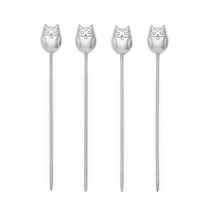 Owl Stainless Steel Cocktail Picks Set of Four